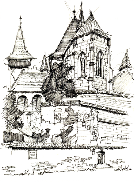 Vedere de jos a bisericii fortificate